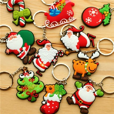 The New 2015 Christmas Gift Of PVC Soft Rubber Key Chain, Creative Rubber Pendant Gift Santa Claus, Christmas Tree