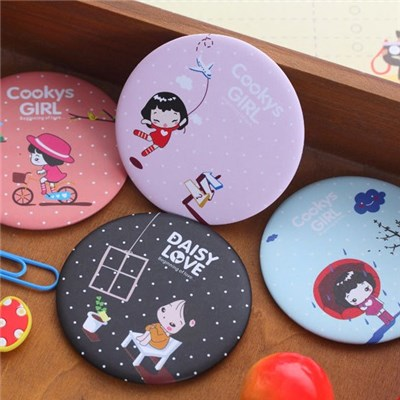 2015 Small Mirror Creative Korea Biscuits Cute Girl Ms Cartoon Mini Mirror,Welcome To Sample Custom