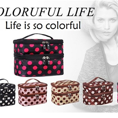 The New 2015 Double Makeup Bag Korean Fashion Female Bag Portable Cosmetic Bag Lady Bags,Welcome To Sample Custom