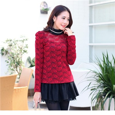 Hollow Out Of New Fund Of 2015 Autumn Winters With Velvet Render Unlined Upper Garment, Korean Hollow Out With Velvet Lace Long Sleeve Top,Welcome To Sample Custom