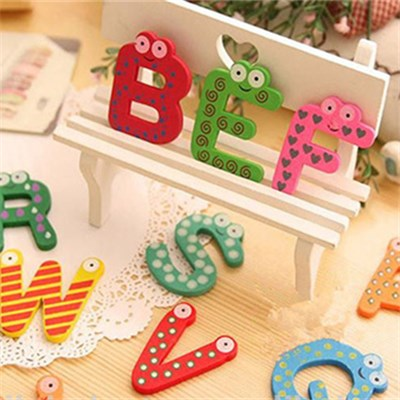 Wooden Inkjet Sticker Alphabet Fridge Magnets(M02)