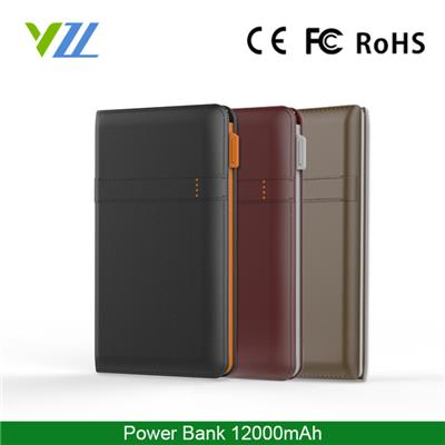 External Polymer Manual For Power Bank 12000mah Leather-grain ABS Fashion Mobile Phone Charger 12000MAH