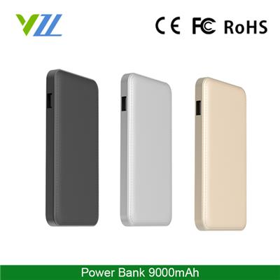 Portable Aluminum Power Bank 9000 Mah With 4 Color LED Indicators