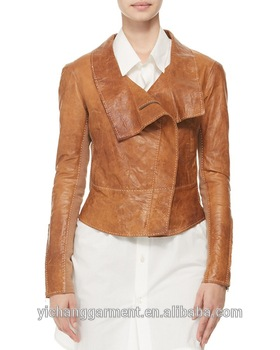 Women Leather Jacket With Ponte Fabric