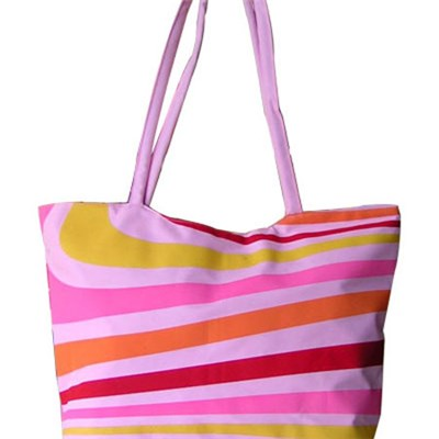 Large Zipper Top Stripe Straw Look Beach Bag Tote Bag