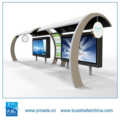 outdoor solar bus shelter with advertising