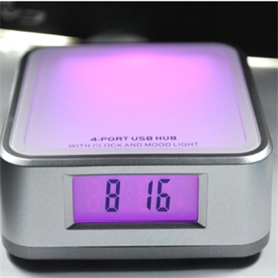 4 Ports USB HUB With Clock And Colorful Lights(jp208)