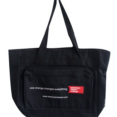Simple Color Tote Bag Shoulder Bag With A Zipper Side Pocket