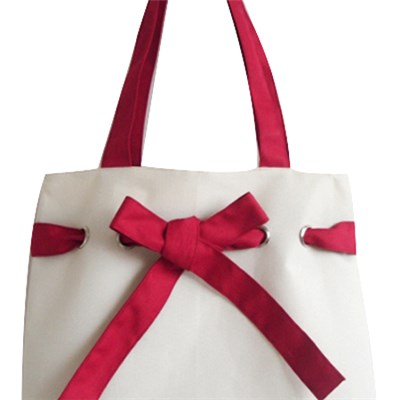 Red Bow Lady Woman Tote Bag