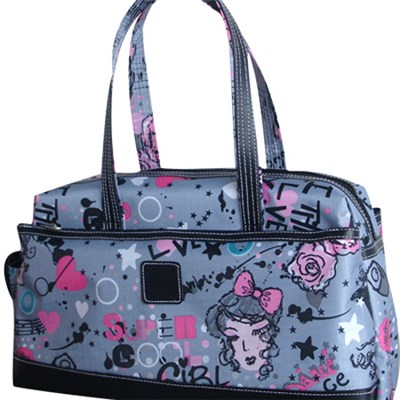 Large Colorful Printed Tote Bag With Zipper Side Pocket