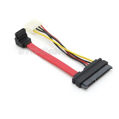 22pin SATA à 7 broches SATA angle avec câble d''alimentation LP4pin