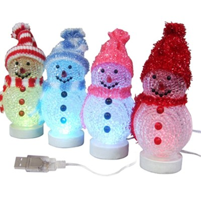 Color Hat USB Christmas Snowman Decor Light (BC319)