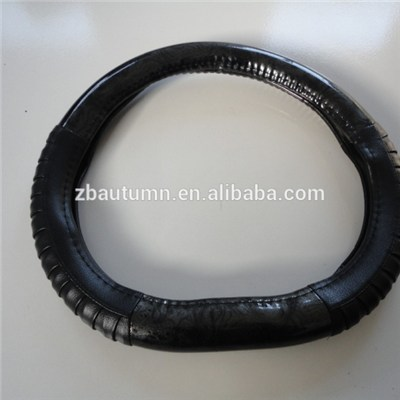 Black Wooden And Wrinkle Grain Steering Wheel Cover