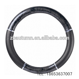 Black Wooden Grain Steering Wheel Cover With Silver Line