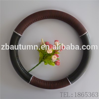 Red Wooden Grain Steering Wheel Cover With Silver Line