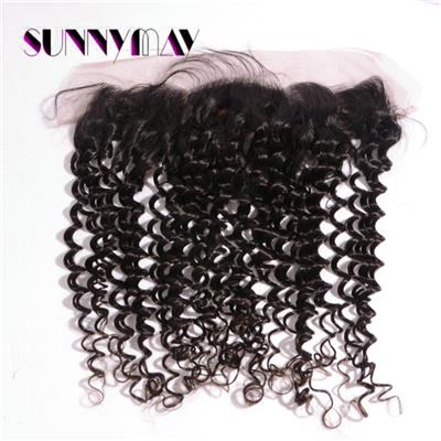 Unprocessed 13x4 Silk Base Lace Frontals Natural Color Brazilian Virgin Human Hair Deep Curly With Baby Hair