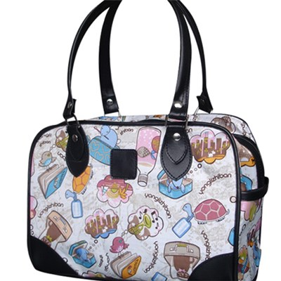 Large Zipper Colorful Printed Tote Bag