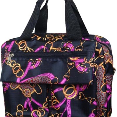 Large Colorful Printed Tote Bag With Two Front Slip Pockets& Back Zipper Pocket