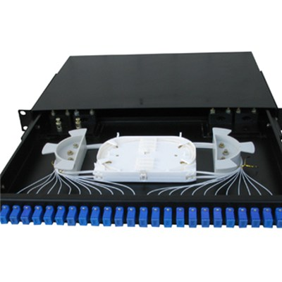 SC Type 24Port 19 Inch 1U Rack Mounted Fiber Optic Patch Panel(Drawer Style, FC/ST)
