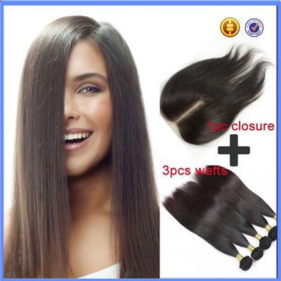 Free Shipping Wholesale Straight 100% Brazilian Virgin Hair Lace Closure And Weft Hair Extension(4x4 12