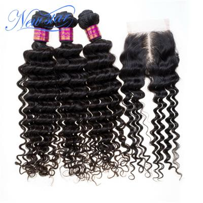 New Star Hair Products Three Peruvian Virgin Hair Deep Wave Curl Bundles With One Middle Part Lace Closure Natural Color Dyeable