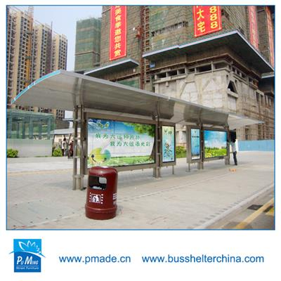 New bus stop design bus shelter with LED strips light box