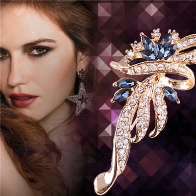 Hot Style 2015 Korean Fashion Design Manual Brooch, Crystal Diamond Flower Four-color Brooch,Welcome To Sample Custom