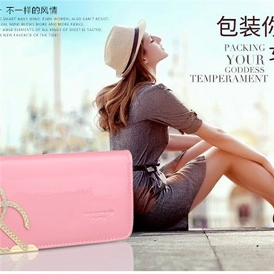 The New 2015 Small Sweet Wind Wallet Set Auger Ms Bright Leather Purse Hand Bag,Welcome To Sample Custom