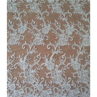 Bridal Lace Fabric With Beads For Wedding Dress (W9011)