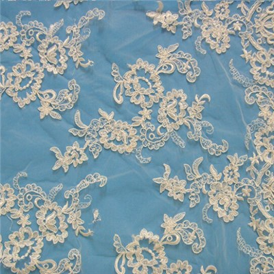 White Bridal Lace Fabric By The Yard (W9034)