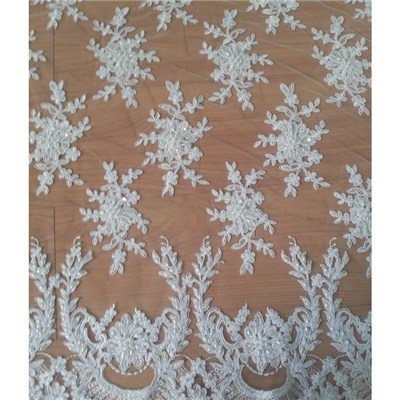 Floral Design White Bridal Lace Fabric (W9005)