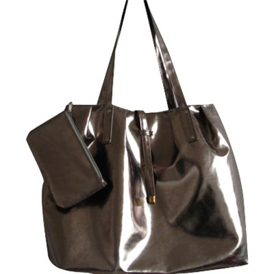 Large Roomy Varnished PU Leather Handbag
