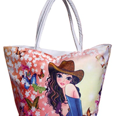 Beautiful Girl With Flowers And Butterfly Printed Beach Bag Tote Bag