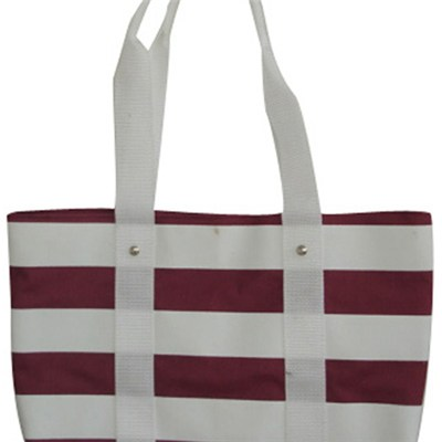 White And Red Stripes Tote Bag