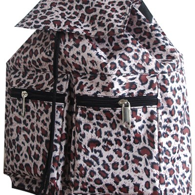 Leopard Pattern Printed Backpack With Drawstring Closure Compartment