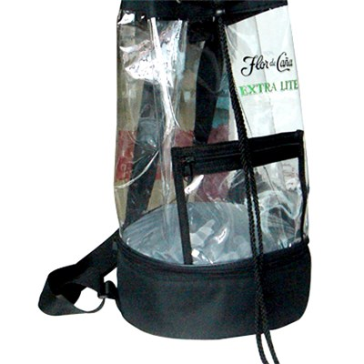 Clear PVC Cylinder Shape Sling Backpack With Cooler Bottom