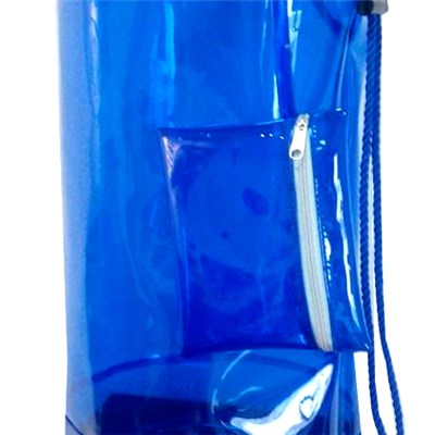 Drawstring Barrel Backpack In Shiny Blue Transparent PVC Bag