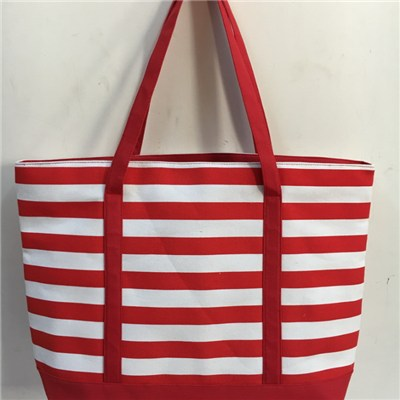 Strip Canvas Beach Bag, Shopping Bag, Tote Bag BE15102b