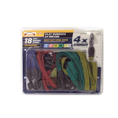 18PC Colored Flat Bungees