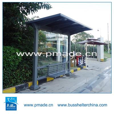 Prefabricated stainless steel bus shelter design