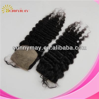 Hot Selling First Class 4x4 Natural Color Virgin Malaysian Deep Wave Hair Silk Base Lace Closure With Baby Hair