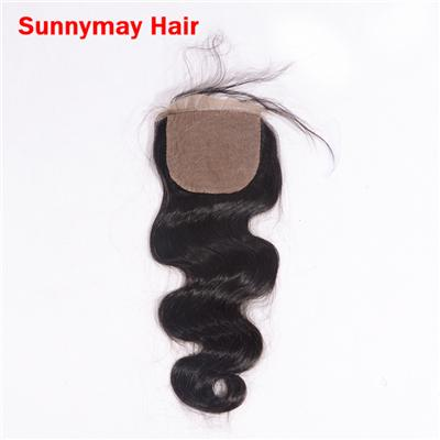 Sunnymay 4x4 Silk Based Closure Hidden Knots Virgin Peruvian Human Hair Body Wave Free Middle Three Part Silk Based Lace Closure