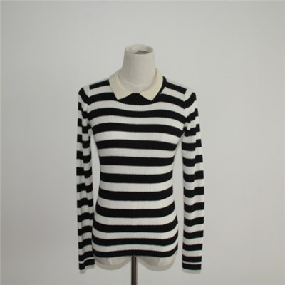 Striped Slim Knitted Sweater With Peter Pan Collar