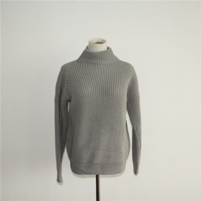 Stylish Ribbed Knit High Neck Pullover Sweater