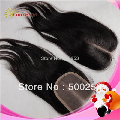 2014 Top Quality Chinese Virgin Hair Top Closure Natural Straight Bleached Knots Human Hair Pieces Middle Part Lace Closure