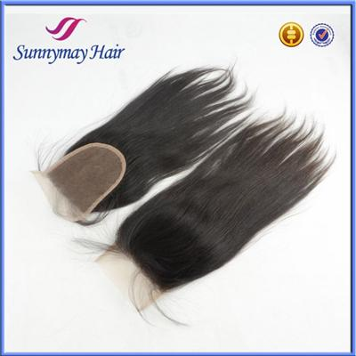 Wholesale Stock 4x4 Bleached Knots Malaysian Virgin Human Hair Free Parting Lace Closure With Baby Hair