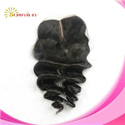 100%Malaysian Virgin Hair Lace Closure Loose Curly 4