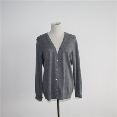 Women Basic V-neck Button Down Cardigan Sweater
