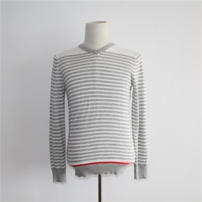 Fashion Striped V-neck Knitted Sweater For Men