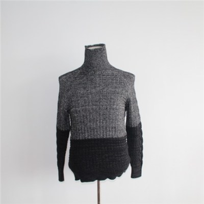 Gradient Color High Roll Collar Knitted Sweater